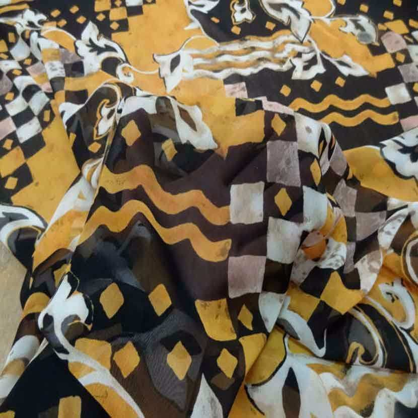 Mousseline imprime safran noir et blanc9
