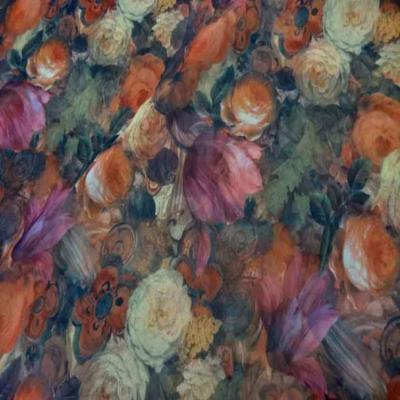 Mousseline imprime ton de terre motifs fleurs