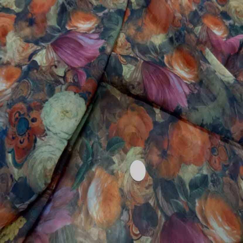 Mousseline imprime ton de terre motifs fleurs5