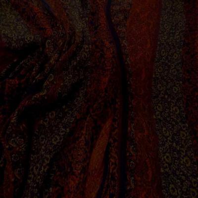 Mousseline polyester imprime ton bordeaux9
