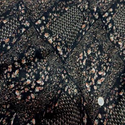 Mousseline polyester imprime ton noir
