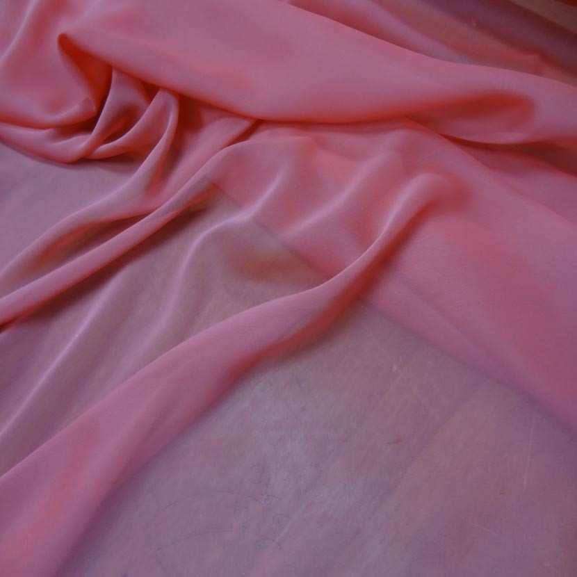 Mousseline polyester ton rose7