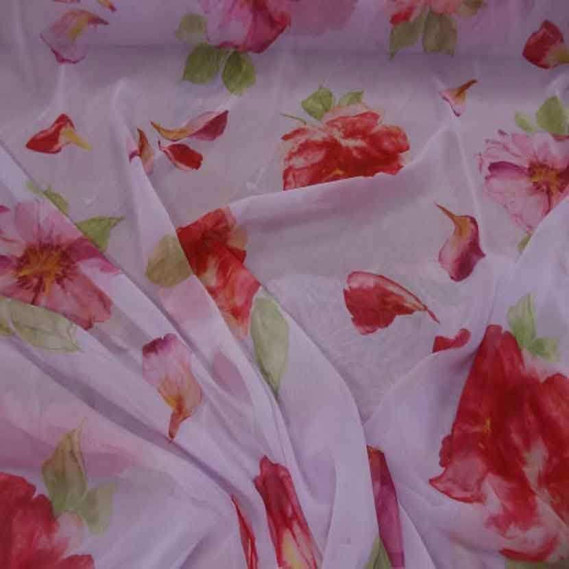 Mousseline rose imprime fleurs