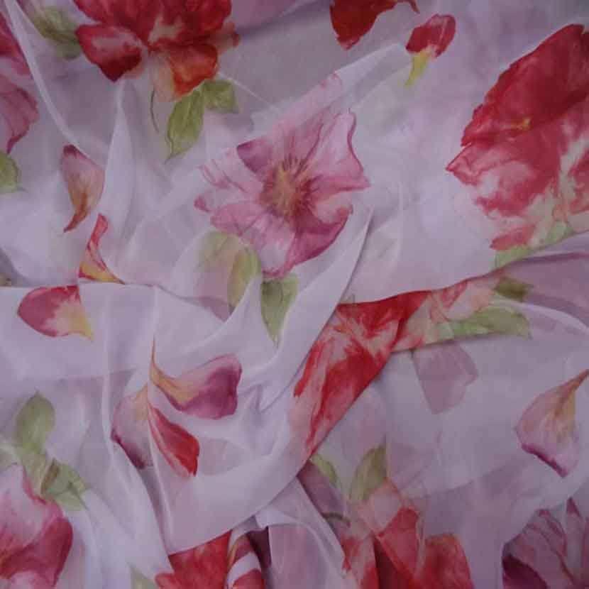 Mousseline rose imprime fleurs4