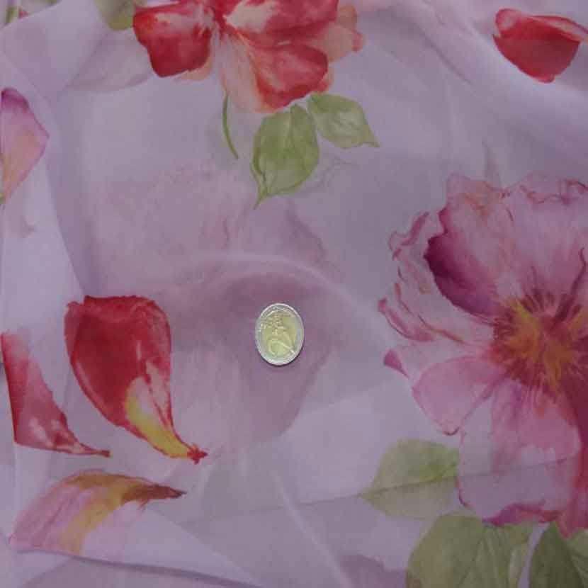 Mousseline rose imprime fleurs7