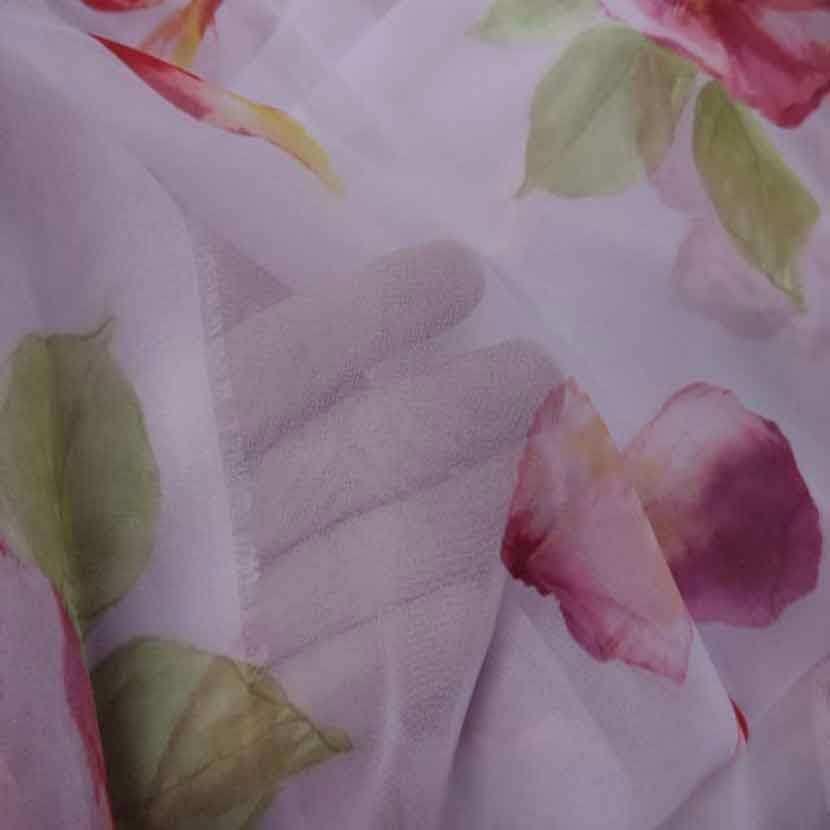 Mousseline rose imprime fleurs8