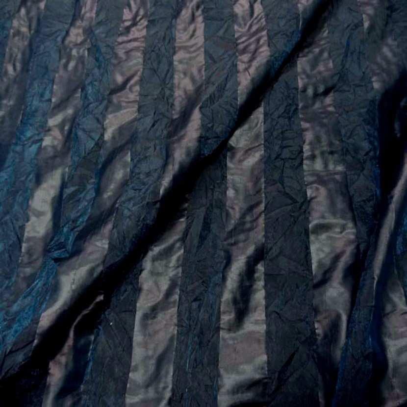 Organza a motifs bandes froisse permanent ton bleu canard5