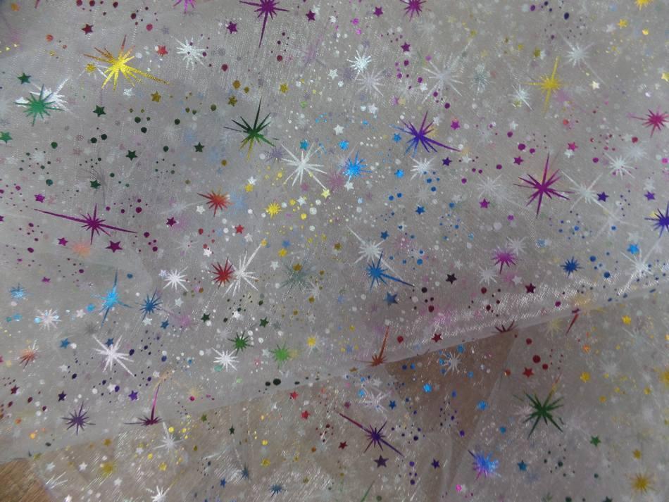 tissu organza blanc double face étoile du berger multicolore et métal