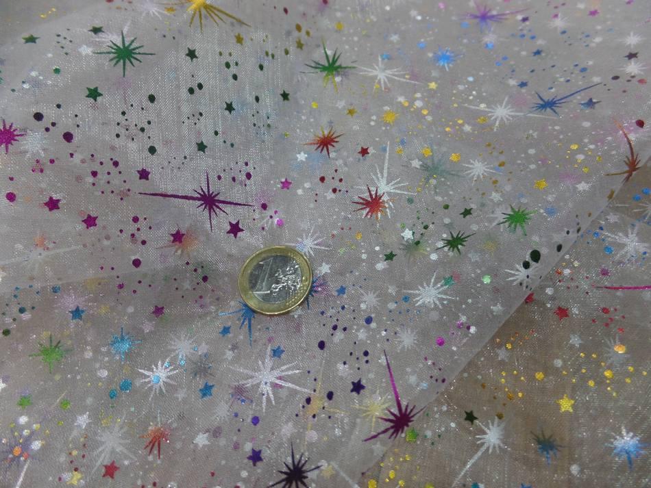 vente tissu organza blanc double face étoile du berger multicolore et métal
