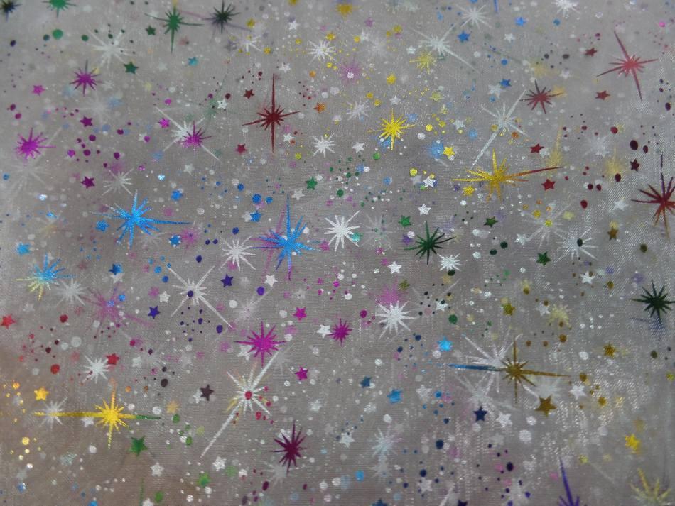 tissu organza de noel  blanc double face étoile du berger multicolore et métal