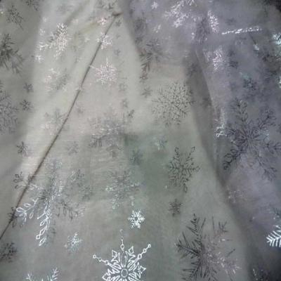 Organza blanc etoile des neiges couleur metal