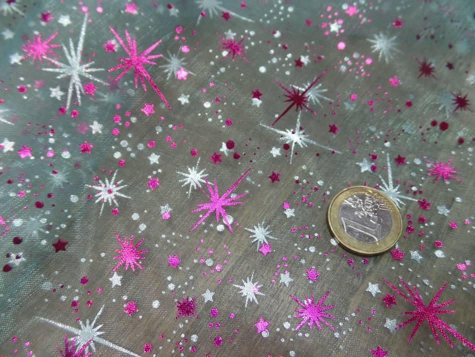 vente de tissu organza bleu double face étoile du berger rose et métal