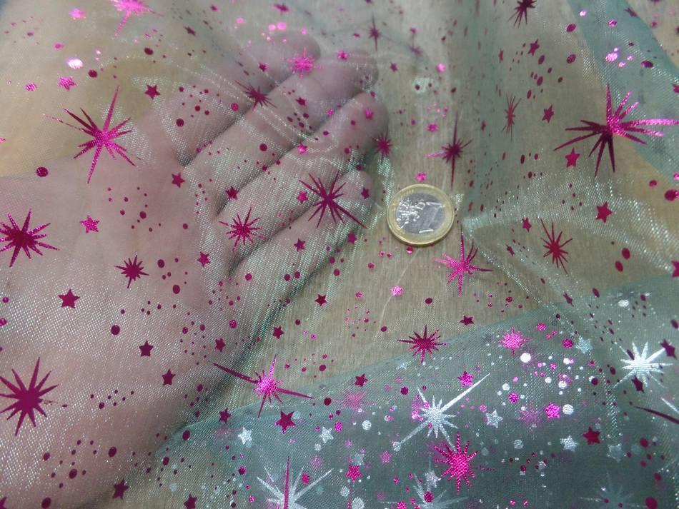 vente de tissu organza bleu double face étoile du berger rose et métal pas cher