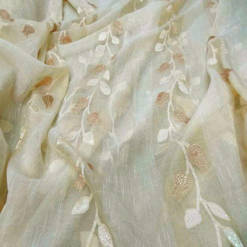 Organza brode fleurs en 2 80m plombe jaune paille