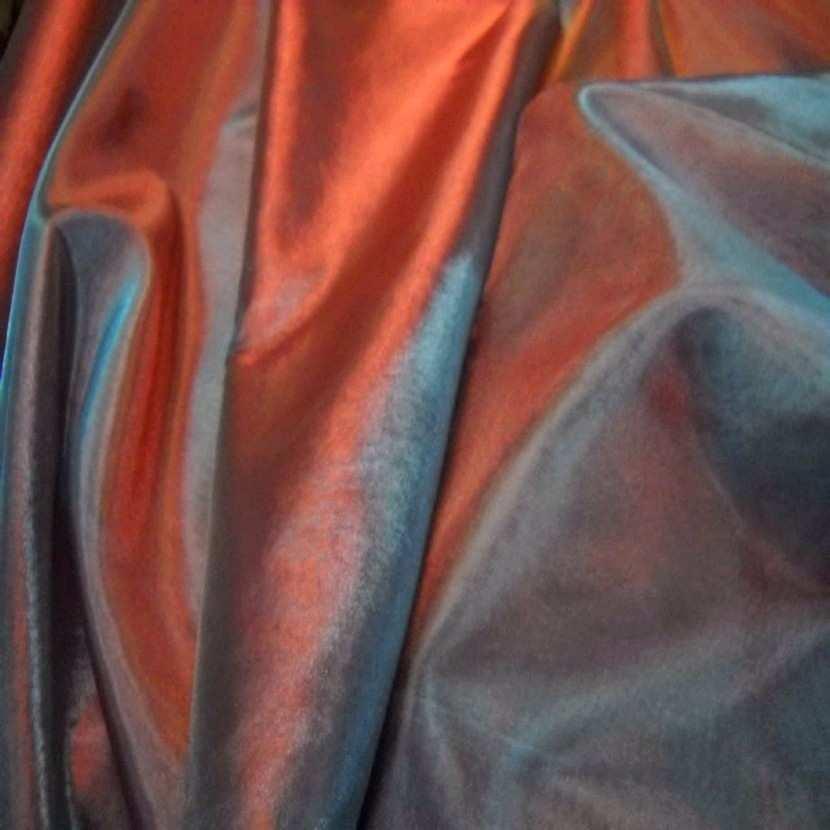 Organza changeant rouge vermillon reflets bleu en 2 90m8