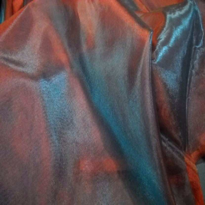 Organza changeant rouge vermillon reflets bleu en 2 90m9