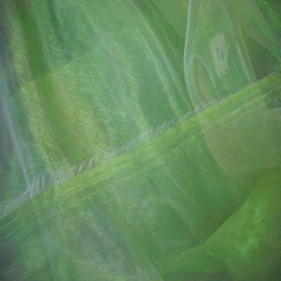 Organza changeant vert bambou reflets blanc en 1 5m de large