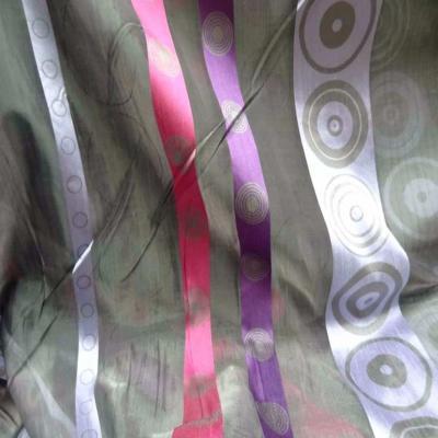 Organza gris a bandes mauve rose en 3m de large