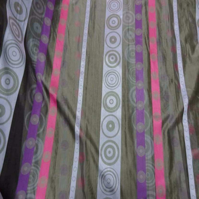 Organza gris a bandes mauve rose en 3m de large1