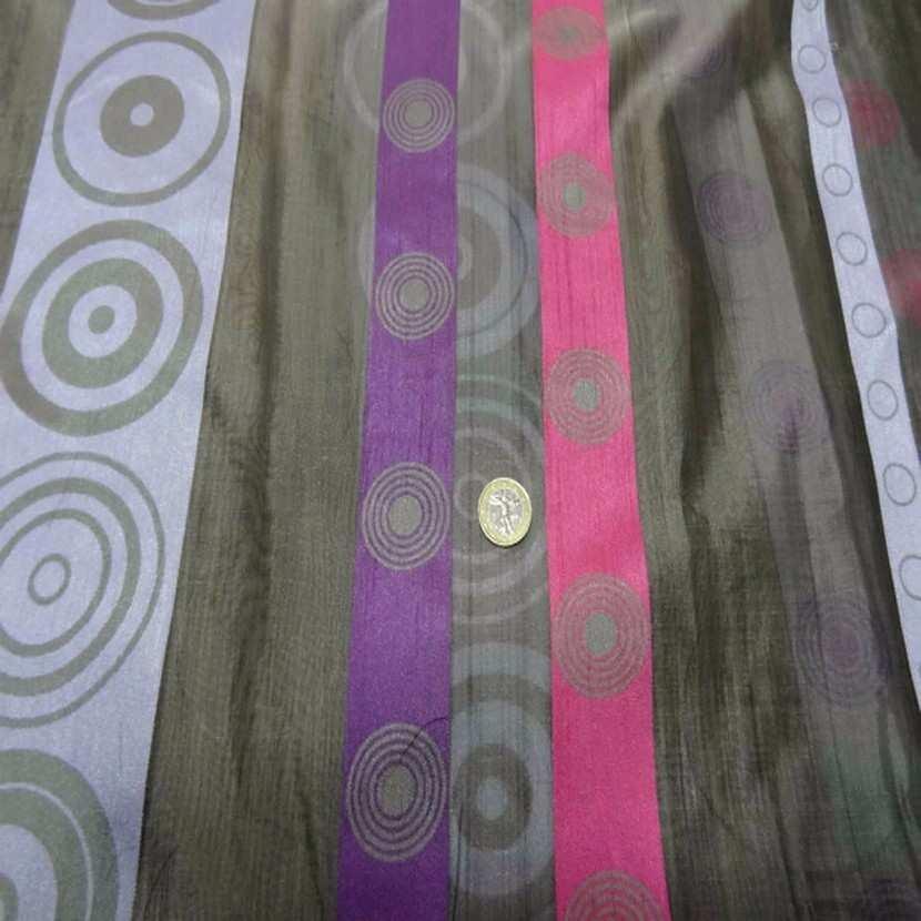 Organza gris a bandes mauve rose en 3m de large5