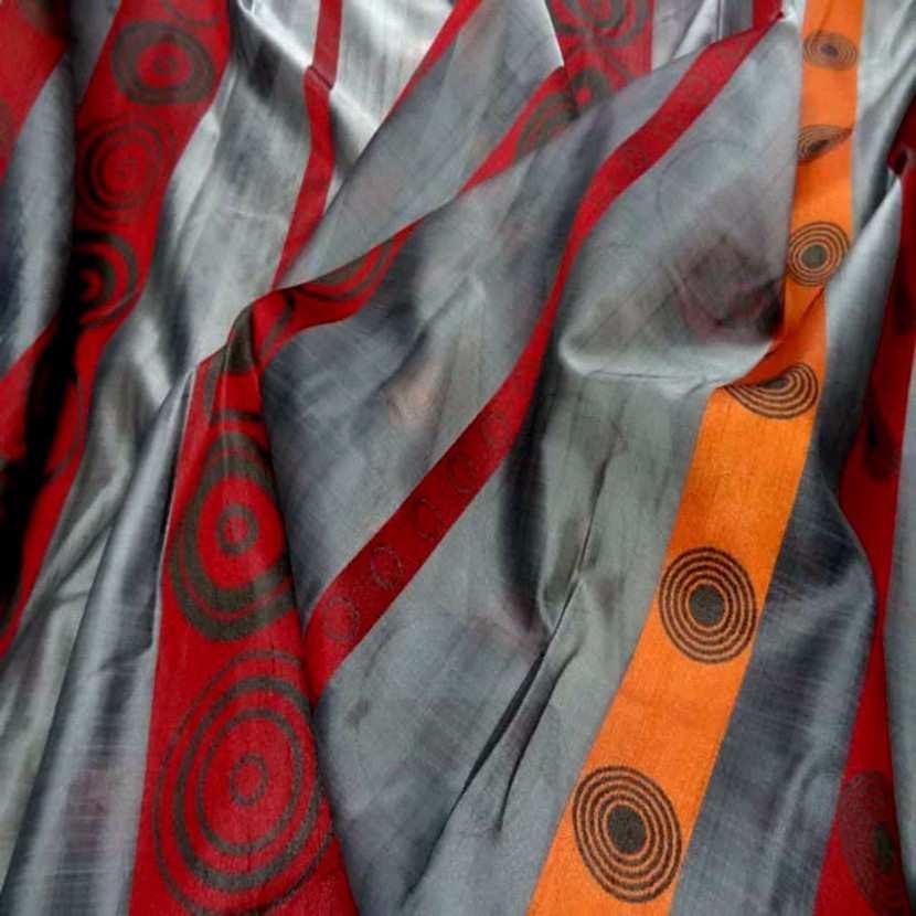 Organza gris a bandes orange rouge en 3m de large6