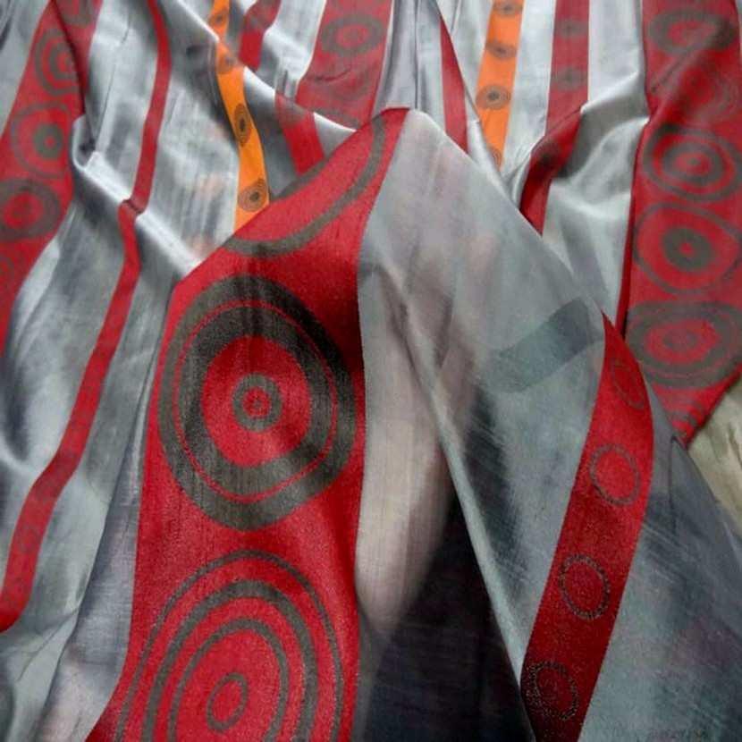 Organza gris a bandes orange rouge en 3m de large9