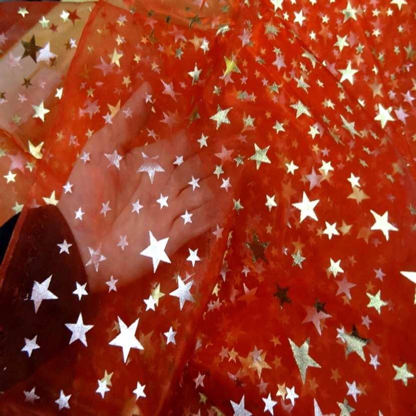 Organza rouge etoile double face dore et metal