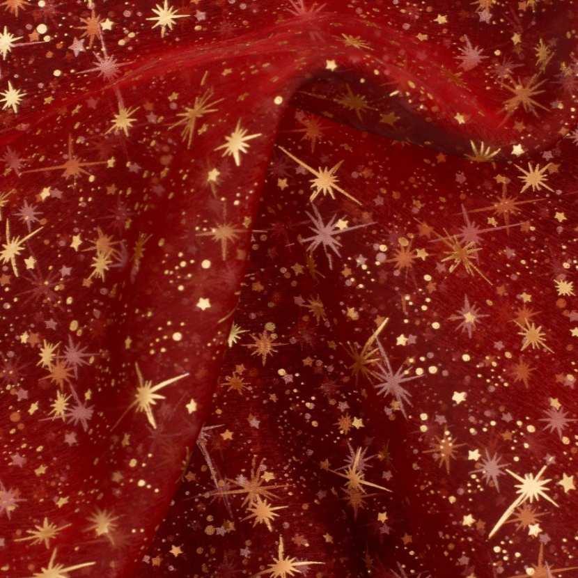 Organza rouge imprime etoile du berger