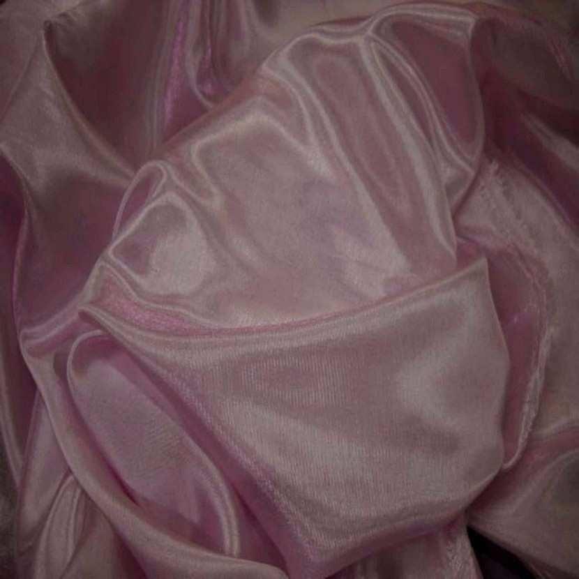 Organza souple rose reflets blanc en 1 5m de large0