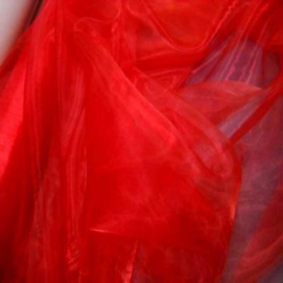 Organza ton rouge vermillon en 1 5m de large