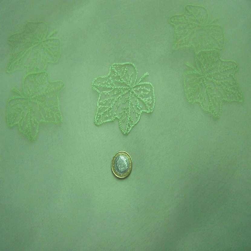 Organza ton vert anis brode
