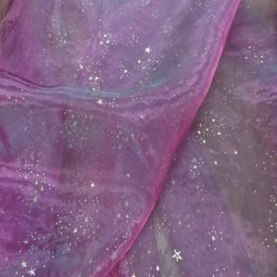 Organza violet a etoile dore en relief