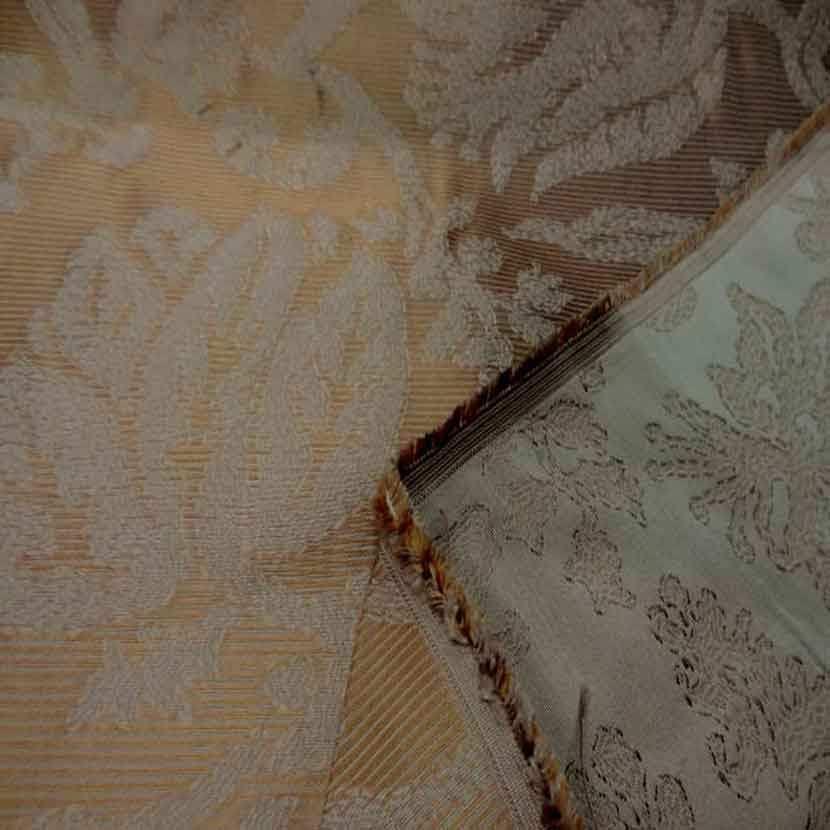 Ottoman 100 soie faconne double face ton beige dore06