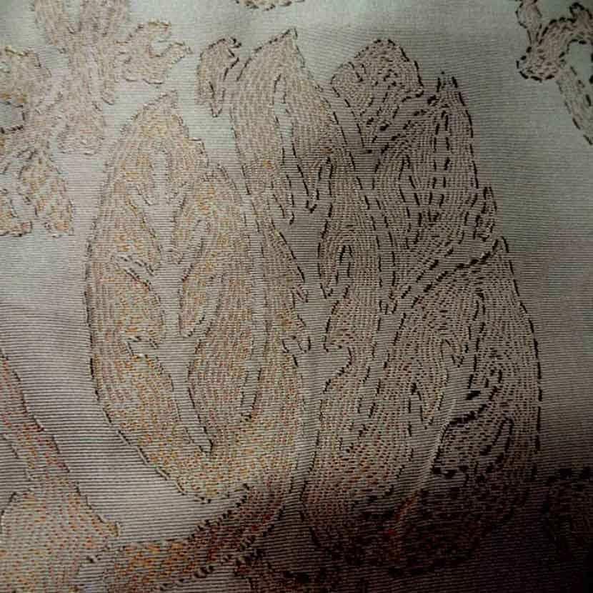 Ottoman 100 soie faconne double face ton beige dore6