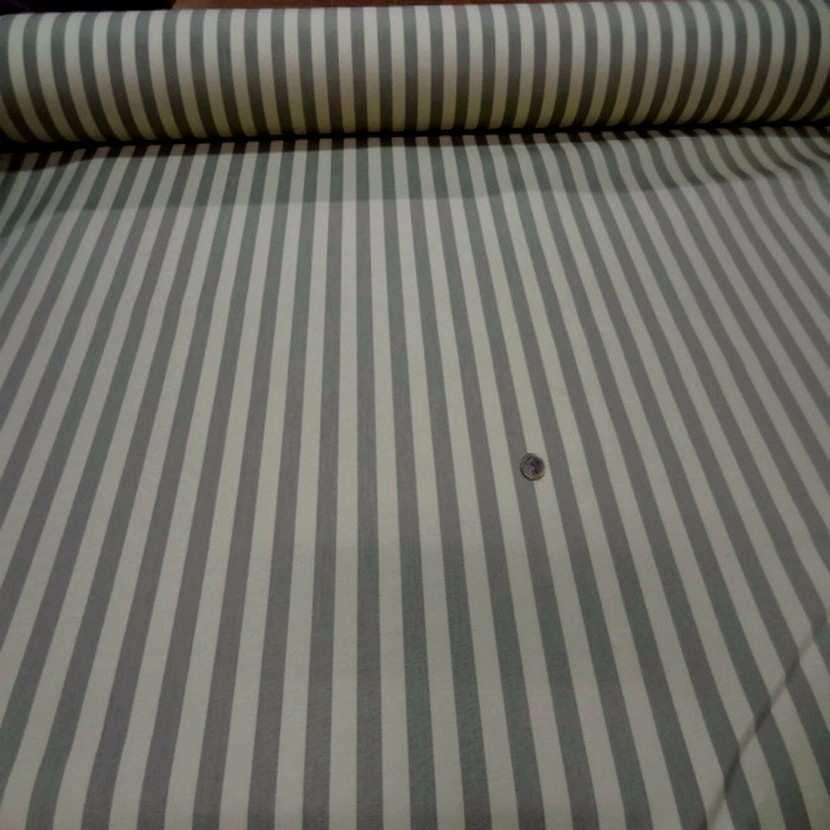 Ottoman d ameublement en coton beige raye gris1