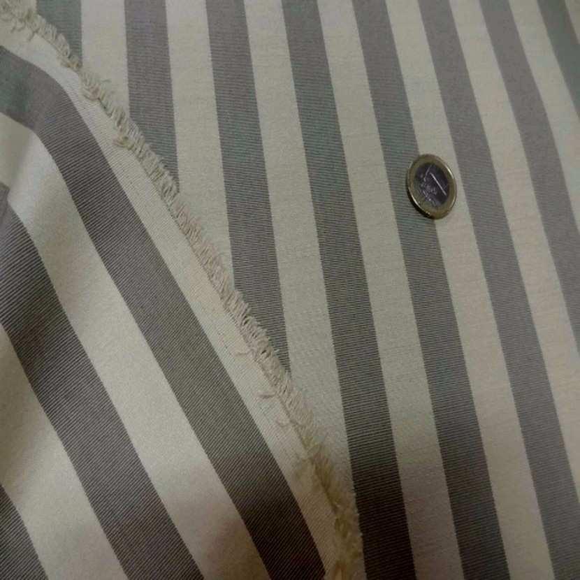 Ottoman d ameublement en coton beige raye gris3
