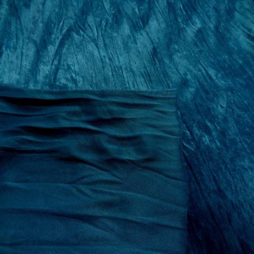 Panne de velours plisse ton bleu8