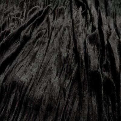 Panne de velours plisse ton marron fonce