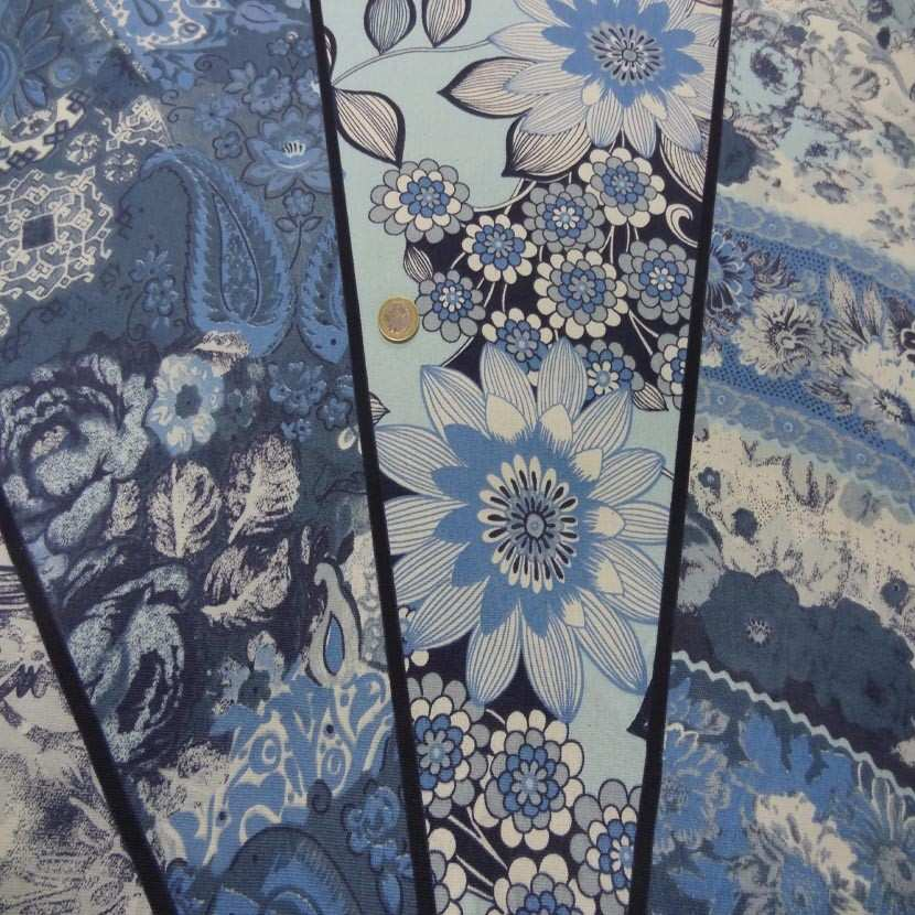 Panneau de gabardine coton ton bleu 0 90m3