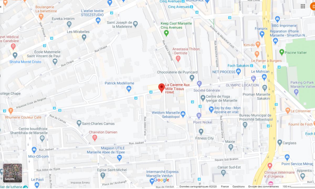 Plan du quartier de la caverne aux mille tissus a  Marseille