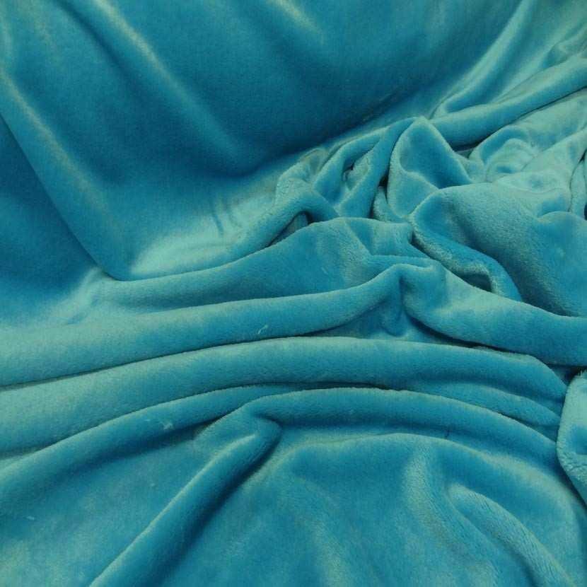 Polaire double face doudou toucher pilou bleu turquoise