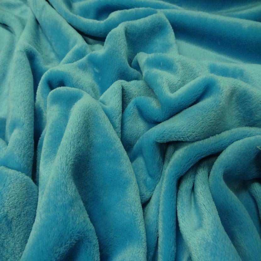 Polaire double face doudou toucher pilou bleu turquoise0