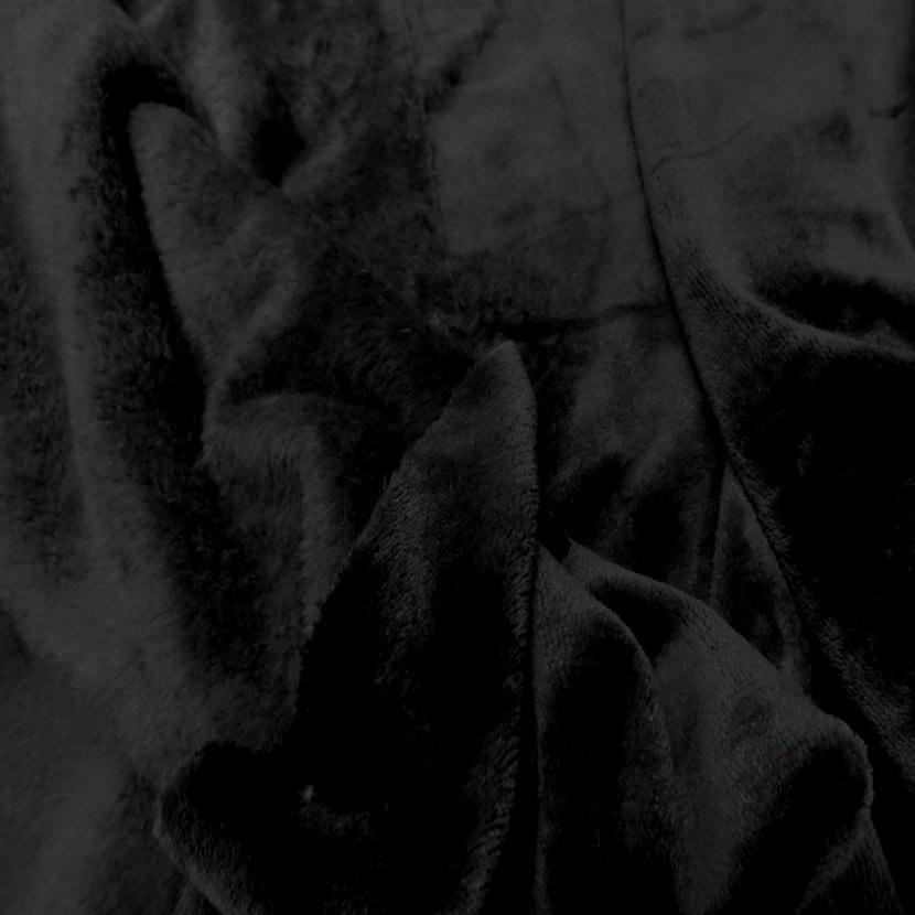 Polaire double face doudou toucher pilou noir