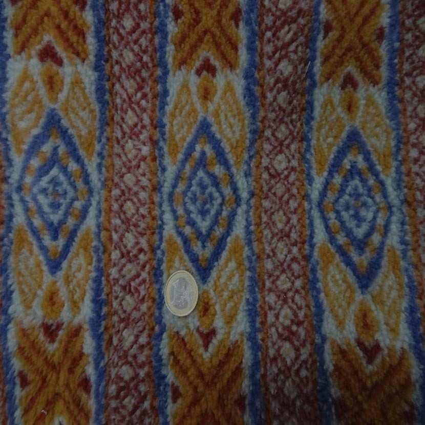 Polaire epaisse a motifs ton rouille bleu3