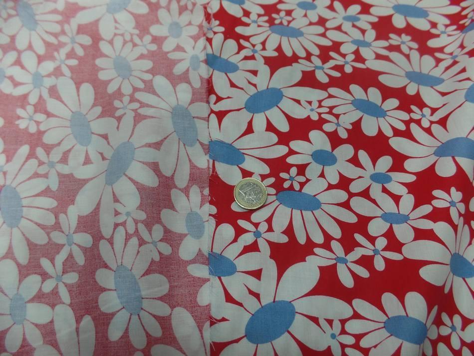 vente de Popeline 100% coton rouge imprimé fleurs blanche et bleu en ligne