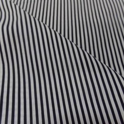 popeline coton 100% blanche imprimé fine rayure noire