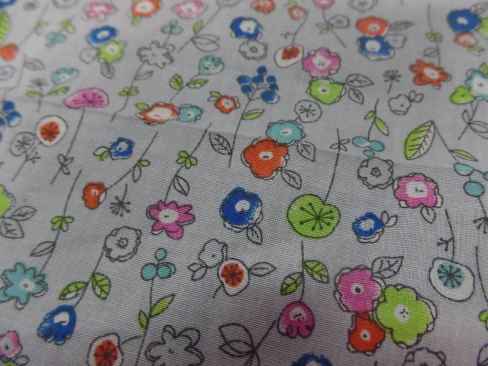 Popeline coton 100 imprime fleurs bleu orange vert et rose0