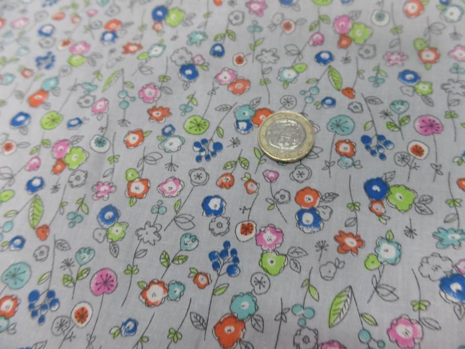 Popeline coton 100 imprime fleurs bleu orange vert et rose6