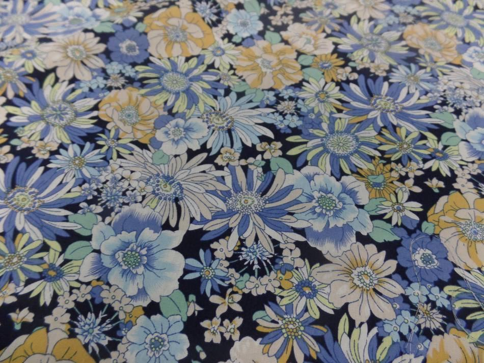 étoffe popeline coton 100% imprime fleurs ton bleu et jaune