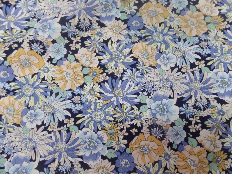 Popeline coton 100 imprime fleurs ton bleu et jaune3